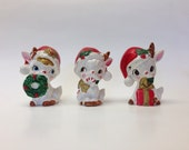 Vintage Retro Napco Ceramic deer set of 3 Christmas  japan Cute Kitschy Kitsch