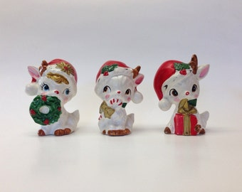 Vintage Retro Napco Ceramic deer set of 3 Christmas  japan Cute Kitschy Kitsch