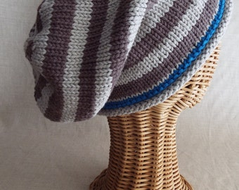 Happy Stripe Slouch Hat, Slouchy, Tam, Beret, Toque, Taupe & Stone with Blue Ready to Ship