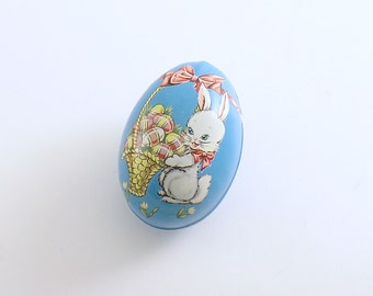 Vintage Easter Egg Candy Container Tin Litho Bunny Eggs