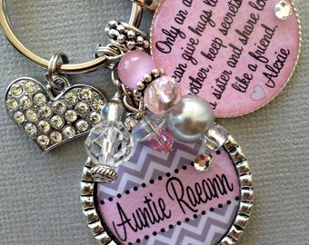 Aunt gift PERSONALIZED Necklace charm keychain AUNT quote, birthday gift, GODMOTHER, Chevron, inspirational quote, hugs like a mother