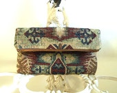 Tapestry tribal clutch foldover, iPad case, large utility bag - eco vintage fabric