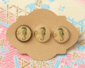 10 pcs handmade sea horse - earrings, pendant, ring - 12mm (PW-021)