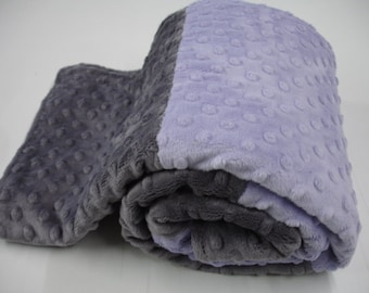 Lavender and Charcoal Gray Double Sided Minky Blanket 38 x 47 READY TO SHIP
