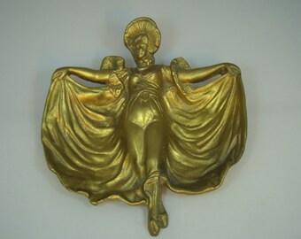 Vintage Dresser Tray Jewelry Tray Victorian Lady Vanity Tray Jewelry Catch All Brass Victorian Lady