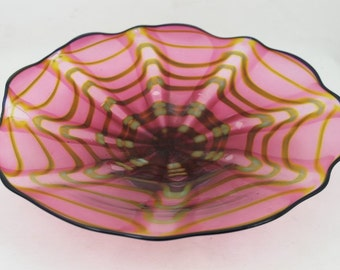 Cranberry Scalloped Seashell Design Hand Blown Glass Wall Platter or Shallow Serving Bowl Home Decoration