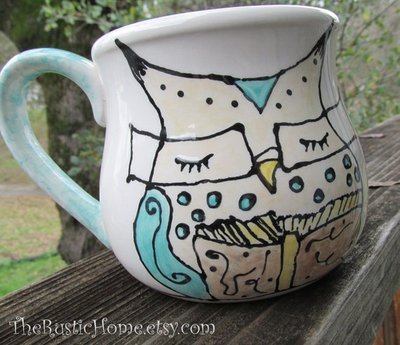 Owl mug book lovers pottery mug cup owl wearing glasses reading teacher librarian owl made to order personalize coffee tea pottery mug