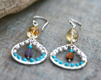 Citrine, Garnet, Sleeping Beauty Turquoise White Pearl Sterling Silver Wire Wrapped Earrings