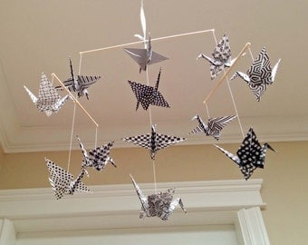 Origami Crane Mobile - Assorted Black and White Print Papers - Home Decor