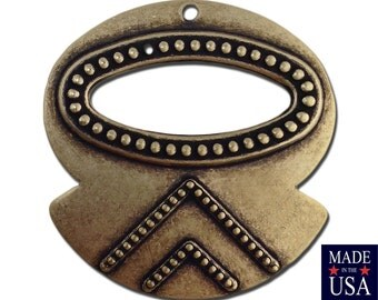 1 Hole Brass Ox Rounded Hoop Tribal Pendant 31x30mm (6) mtl427D