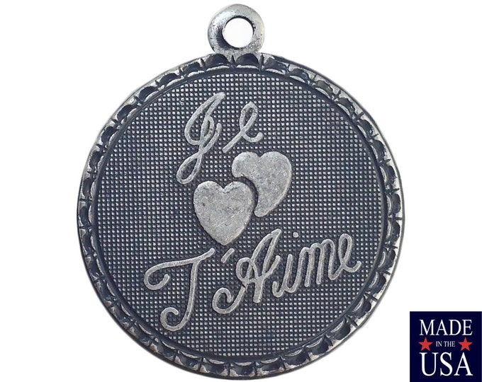Sterling Silver Ox Plated Je T'aime I Love You Word Charm Drop with Loop (1) chr214EE