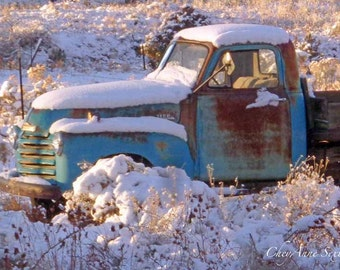 Snowy covered Turquoise Chevy Pickup Winter light - Antique farm vehicle fresh snow fall Rusty Teal Blue Country Truck 8x12