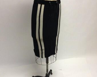 Sport Striped Velour Pencil Skirt
