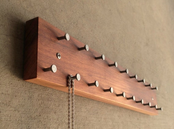 jewelry hanger solid wood wall mountable with metal hooks