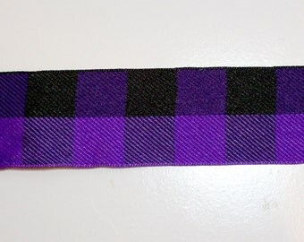 Purple and Black Check Woven Polyester Ribbon 1 1/2 inches wide x 5 yards Buffalo Plaid, Offray Lodge Plaid SECOND QUALITY FLAWED