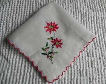 Vintage Christmas Hanky Poinsettia Embroidered Holiday Floral Handkerchief