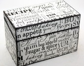 Recipe Box Wood Black and Off White Baking and Cooking Words Retro Ready To Ship Fits 4x6 Recipe Cards