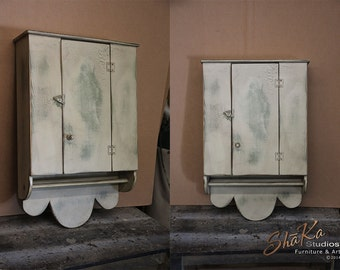 Primitive Hanging Folk Cupboard | Shabby Chic Tan on Sage Distressed Paint