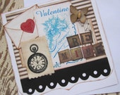 Valentine Card, Handmade Valentine, Prim Valentine, Valentines Day, Red, Blue, Butterfly, Be Mine, For Him, Love, Handmade Card, ofg team