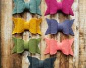 LARGE Chunky Merino Wool Felt Bows - Warmth Collection - Set of 14 - Includes Soft Coral - Exclusive to AMarketCollection