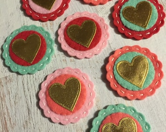 Metallic Gold Hearts - Valentine Heart Coins Wool Felt Coral Mint - set of 8