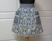Womens Retro Half Apron with pockets, Modern Chic Kitchen Waist Aprons