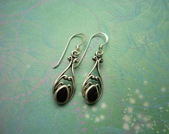 Vintage Sterling Silver Earrings - Black Onyx - 925 Hallmarked - Style 35