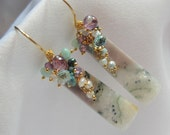 Ocean Jasper - Amethyst - Aquamarine - Emerald Green Pyrite - Peruvian Opal Earrings