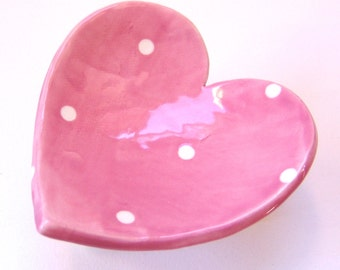 pretty Pink  pottery Valentines Heart Dish :) ring dish for your sweetheart