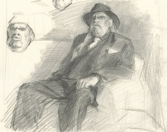 Original Portrait Drawing of Male Figure - Sparro