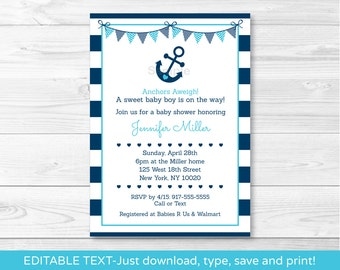 Nautical Anchor Baby Shower Invitation / Nautical Baby Shower Invitation / Editable PDF INSTANT DOWNLOAD A222