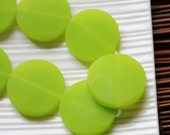 Lime Green Resin Beads, Large Green Resin Coin Beads (3) 30mm