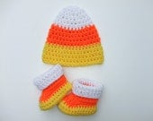 Crochet Halloween Candy Corn Baby Hat with Cozy Warm Booties, You Pick Size, Ready to Ship