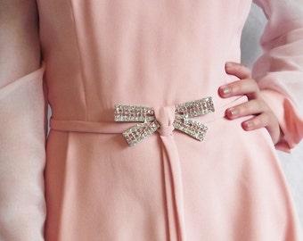 Vintage Pink Dress - Event Wedding Formal - Rhinestone Bow Belt - 1960s Long Sleeve - Medium to Large