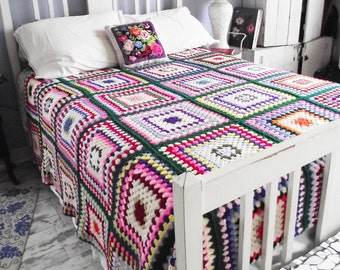 Vintage Crochet Granny Square Afghan Blanket - Bedspread - Full/Queen - Green and Multi-color