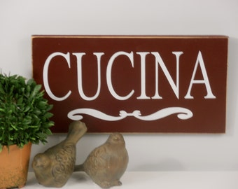 Cucina Wood Sign Wall Hanging Italian word for Kitchen