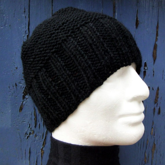 KNITTING PATTERN Mans Simple Beanie Pattern / Knit Straight/ Mans Easy Knit B...