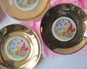 Vintage Haas & Czjzek Czchecoslovakia Gold Lady Plates Set of Three
