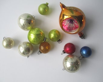 Shabby Vintage Glass Ornaments Set of Eleven