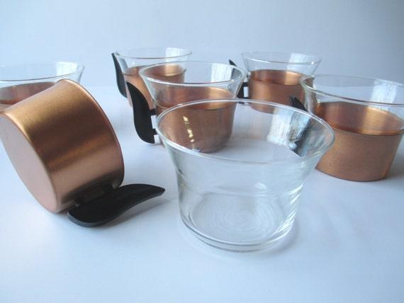 retro vintage copper glass coffee cups set of six by jenscloset. Black Bedroom Furniture Sets. Home Design Ideas