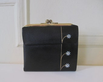 daisy chic, vintage 1960s Black & Gold Leather French Purse Wallet with White Painted Flowers - Lady Buxton