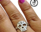 Sterling Silver Day Of the Dead Sugar Skull Ring Dia de los Muertos La Catrina