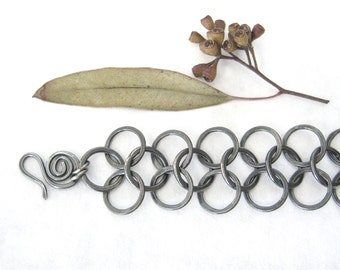 metalwork fine silver bracelet, rustic oxidized torch fused silver bracelet