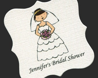 Personalized Bridal Shower Favor Tags - Shower Tags - Gift Tags - Wedding Favor Tags - Bride - Pink - Set of 20