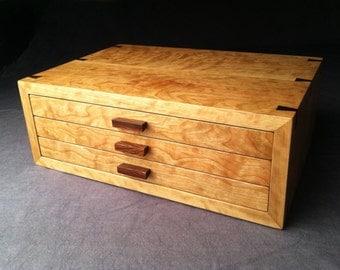 Large Jewelry Box--Curly Cherry & Rosewood Jewelry Box--