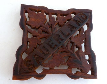 """Trivet - Wood handcarved 6"""" trivet - Marked Sauerland - Wood Kitchen Decor - German folk art"""