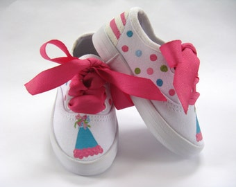 Birthday Party Shoes, White Canvas Sneakers with Party Hat Hand Painted for Baby and Toddler