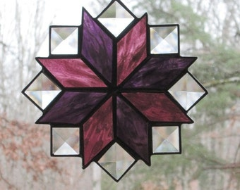 Stained Glass Suncatcher, Quilt Pattern - 8 Point Star in Purples with Clear Bevels