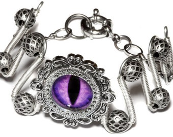 DragonPunk Jewelry - Bracelet - Purple dragon eye - Silver Tone