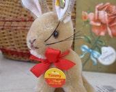 Timmy Rabbit Vintage Steiff Mohair Bunny Rabbit Hase Glass Eyes Ribbon Bell